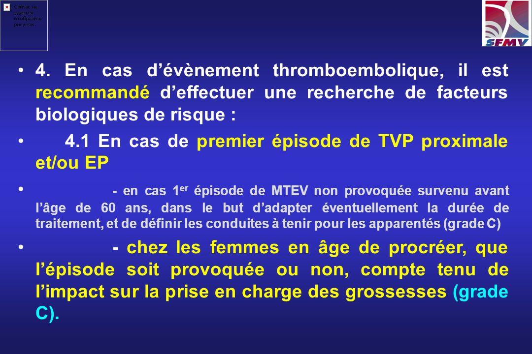 4.1 En cas de premier épisode de TVP proximale et/ou EP