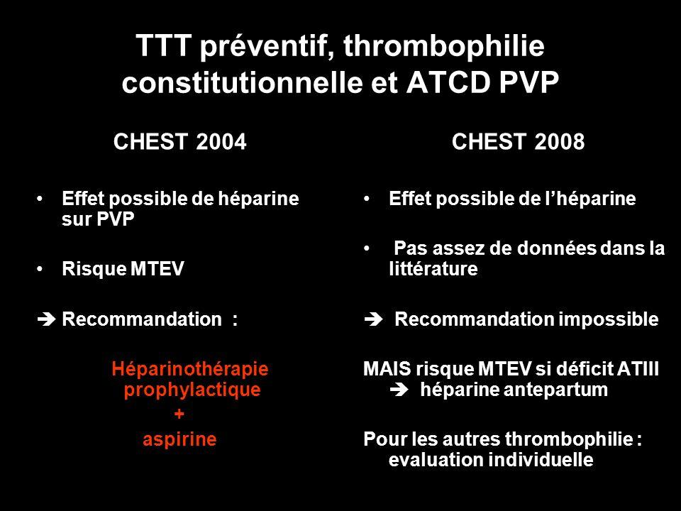 TTT préventif, thrombophilie constitutionnelle et ATCD PVP