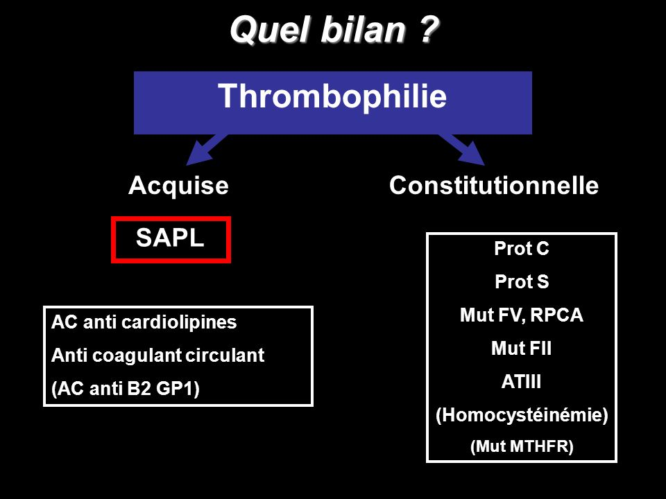 Quel bilan Thrombophilie Acquise Constitutionnelle SAPL Prot C