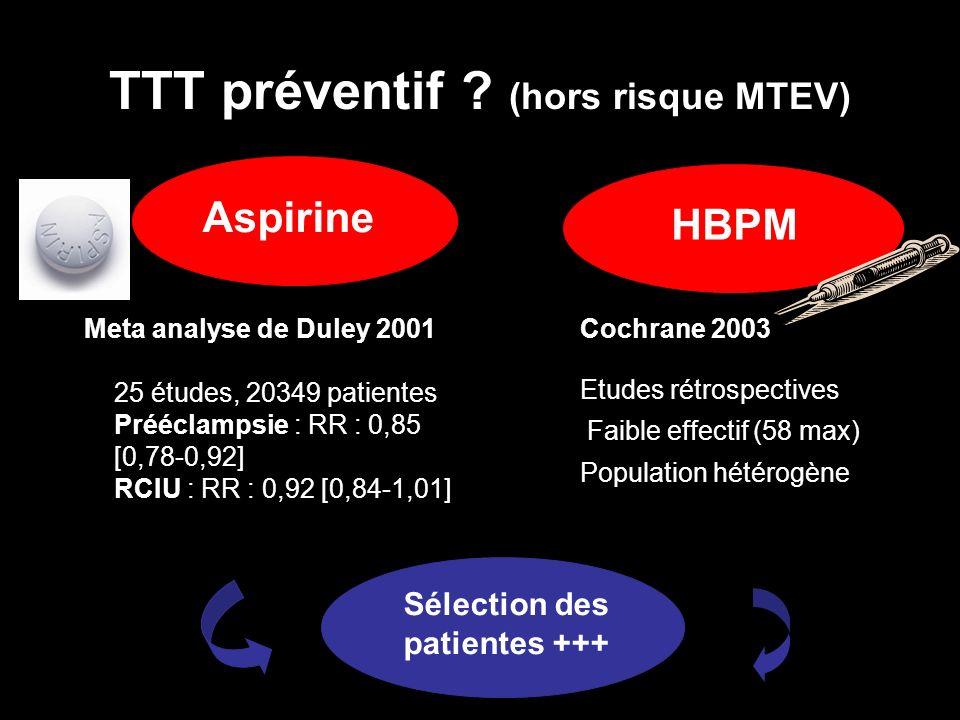 TTT préventif (hors risque MTEV)