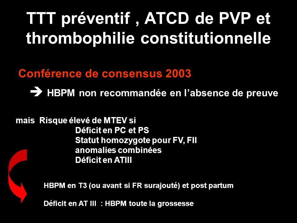 TTT préventif , ATCD de PVP et thrombophilie constitutionnelle