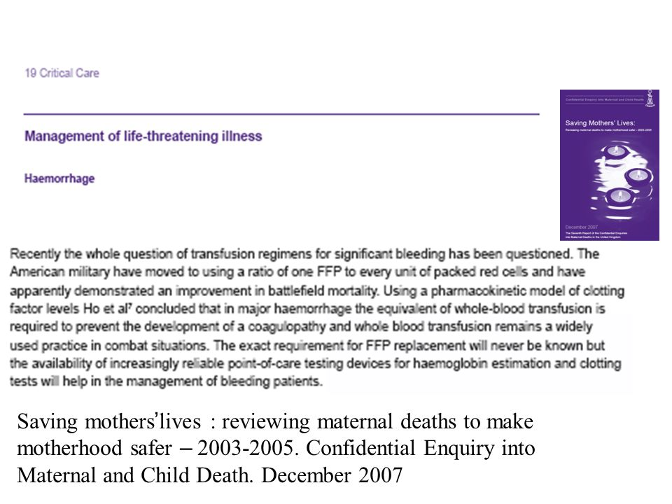 Saving mothers'lives : reviewing maternal deaths to make motherhood safer – 2003-2005.