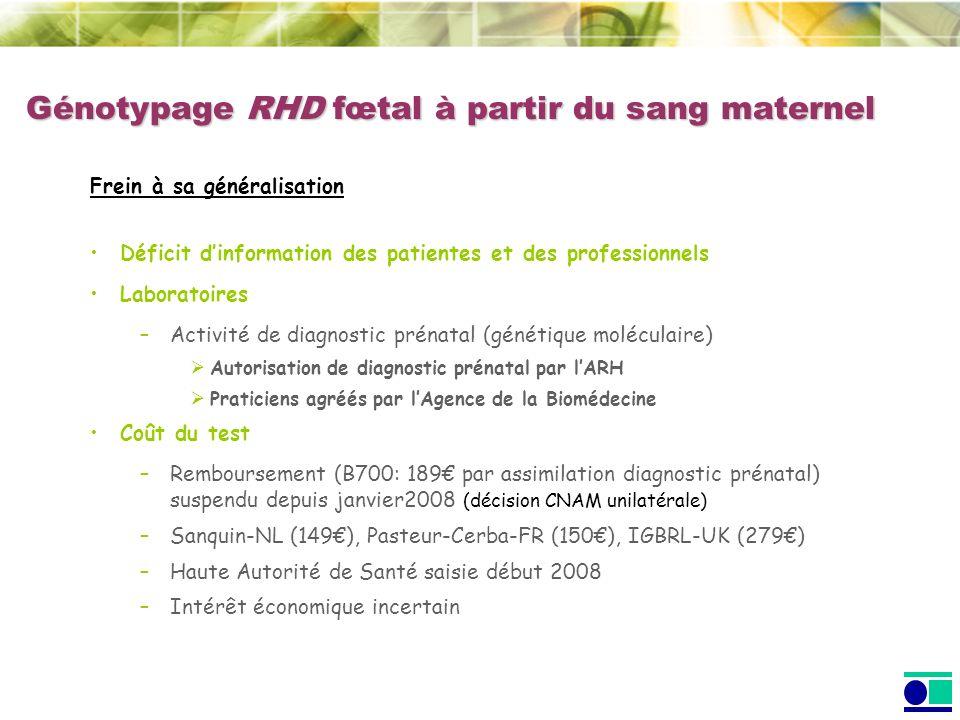 Génotypage RHD fœtal à partir du sang maternel