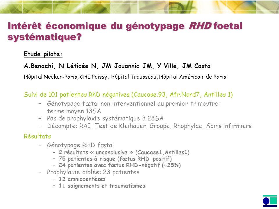 Intérêt économique du génotypage RHD foetal systématique