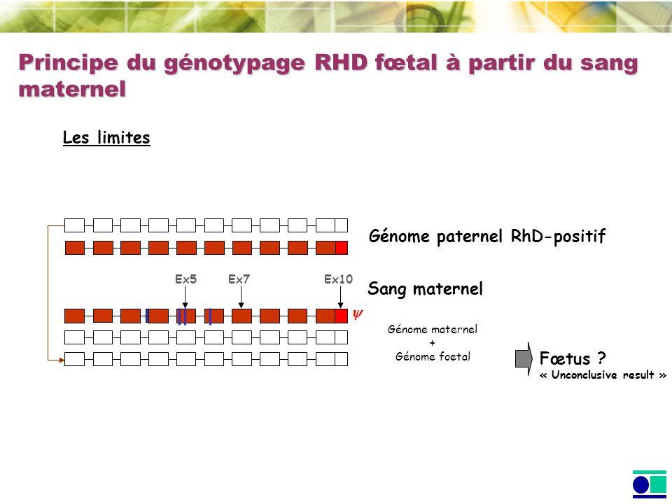 Principe du génotypage RHD fœtal à partir du sang maternel