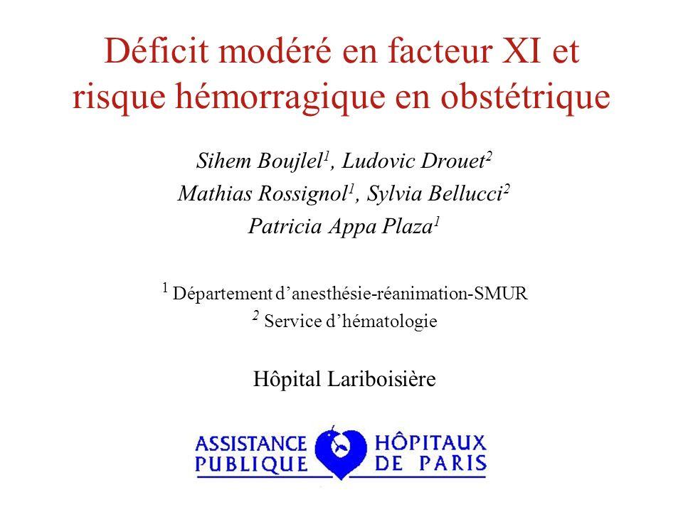 Déficit modéré en facteur XI et risque hémorragique en obstétrique