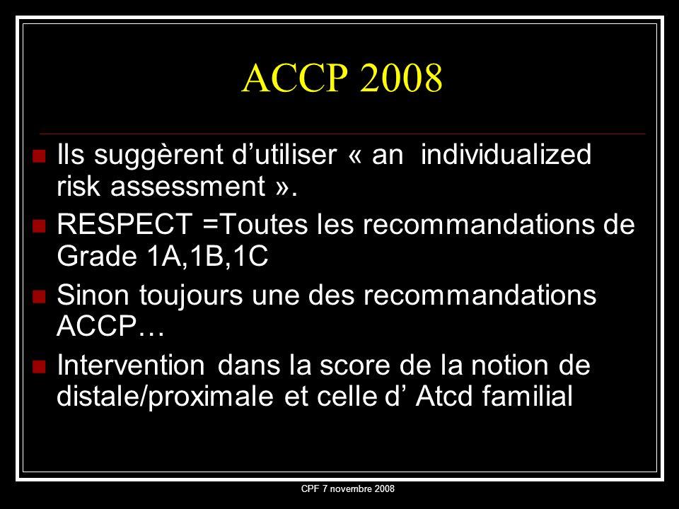 ACCP 2008 Ils suggèrent d'utiliser « an individualized risk assessment ». RESPECT =Toutes les recommandations de Grade 1A,1B,1C.