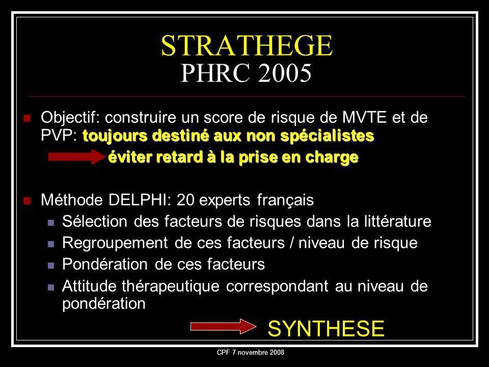 STRATHEGE PHRC 2005 Objectif: construire un score de risque de MVTE et de PVP: toujours destiné aux non spécialistes.