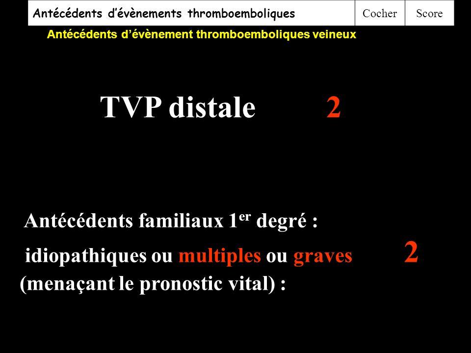 TVP distale 2 Antécédents familiaux 1er degré :