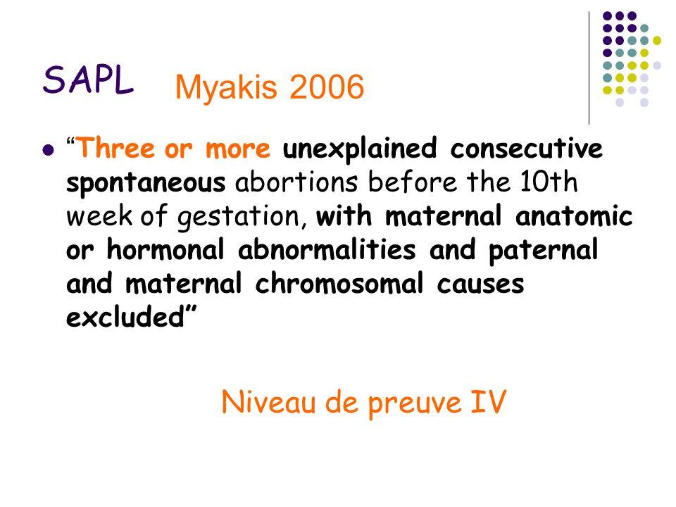 SAPL Myakis 2006 Niveau de preuve IV