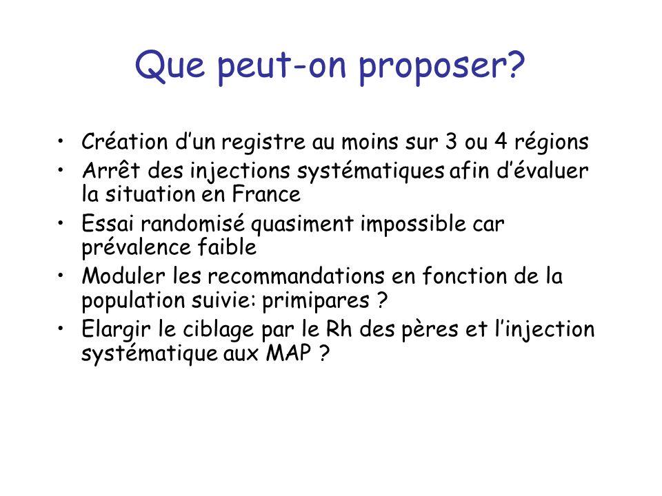 Que peut-on proposer Création d'un registre au moins sur 3 ou 4 régions. Arrêt des injections systématiques afin d'évaluer la situation en France.