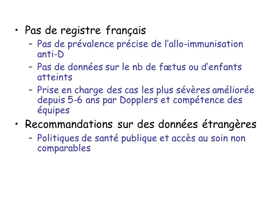 Pas de registre français