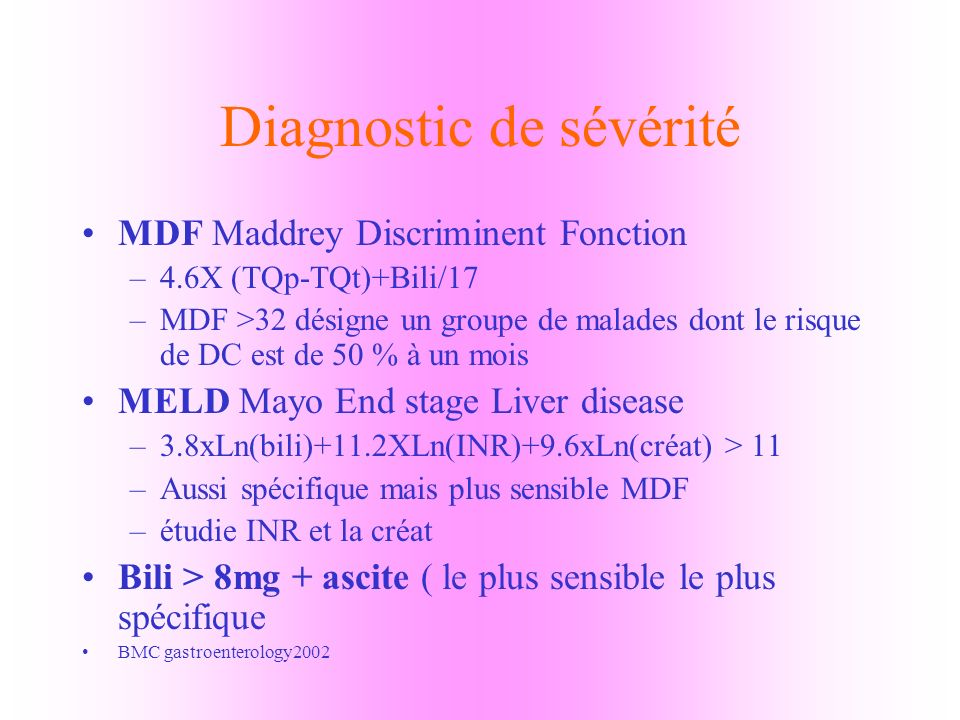 Diagnostic de sévérité