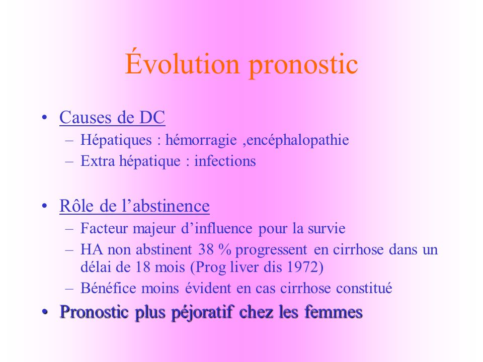 Évolution pronostic Causes de DC Rôle de l'abstinence