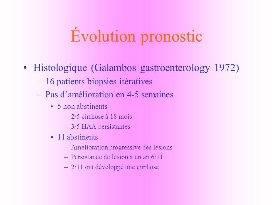 Évolution pronostic Histologique (Galambos gastroenterology 1972)