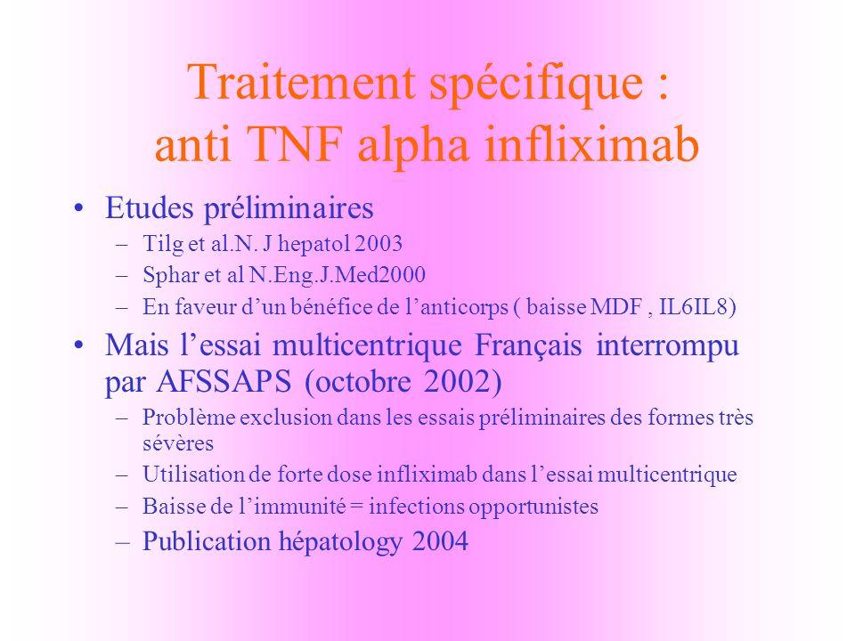 Traitement spécifique : anti TNF alpha infliximab
