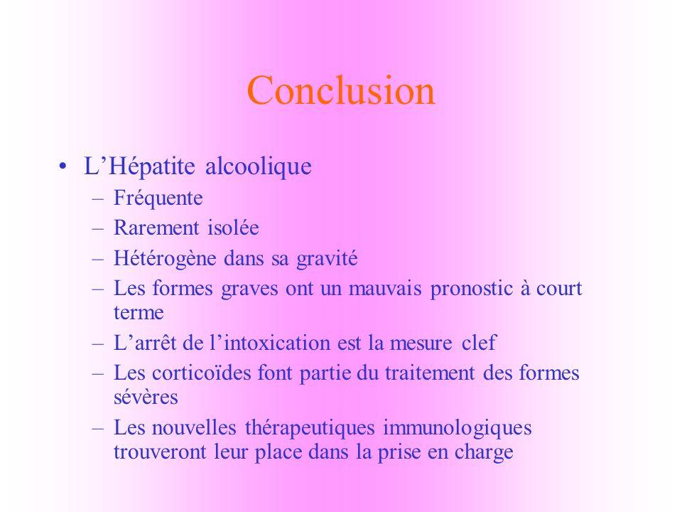 Conclusion L'Hépatite alcoolique Fréquente Rarement isolée
