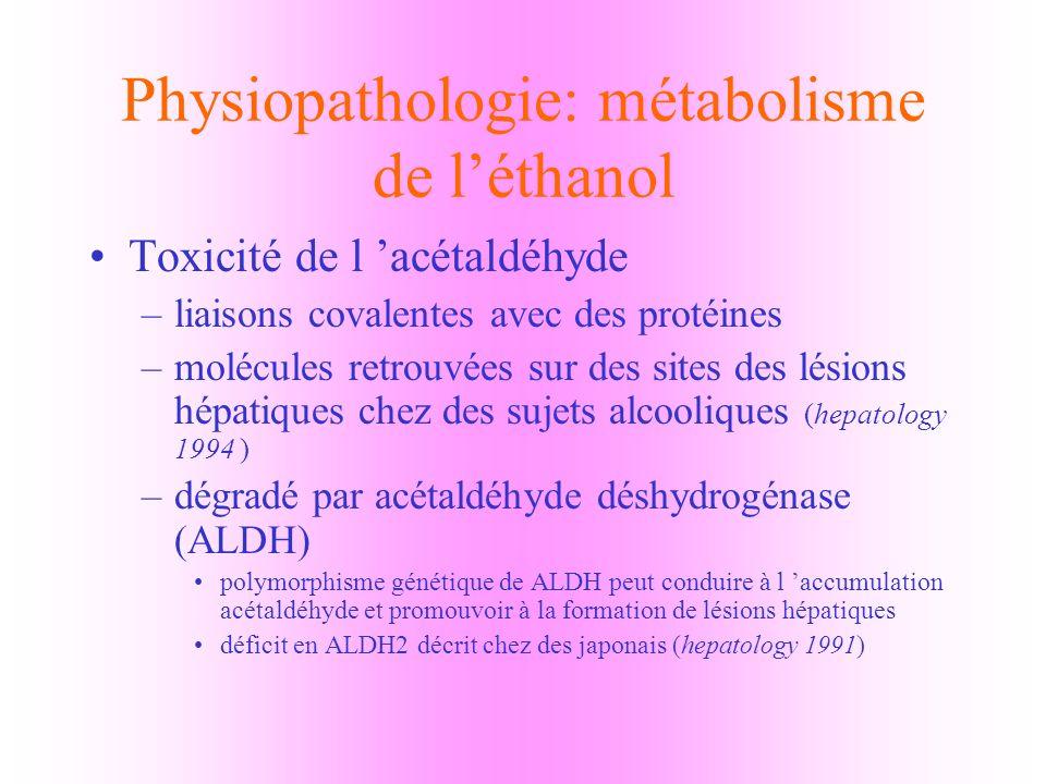 Physiopathologie: métabolisme de l'éthanol