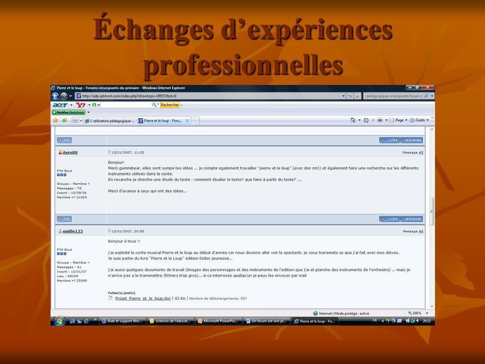 Échanges d'expériences professionnelles
