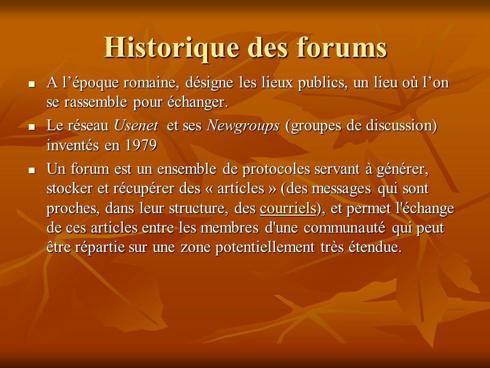 Historique des forums A l'époque romaine, désigne les lieux publics, un lieu où l'on se rassemble pour échanger.