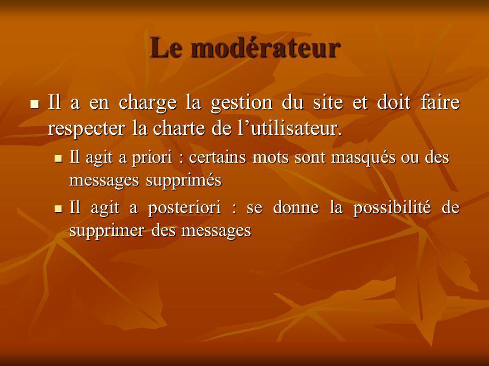 Le modérateur Il a en charge la gestion du site et doit faire respecter la charte de l'utilisateur.