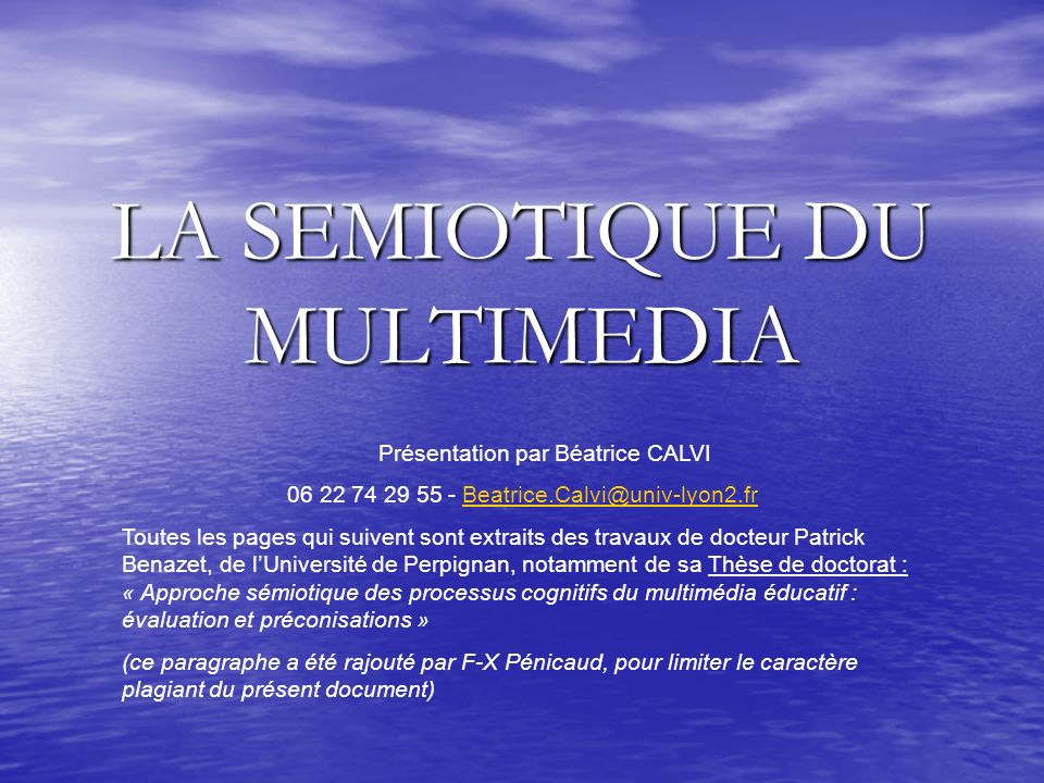 LA SEMIOTIQUE DU MULTIMEDIA