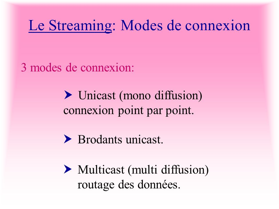 Le Streaming: Modes de connexion