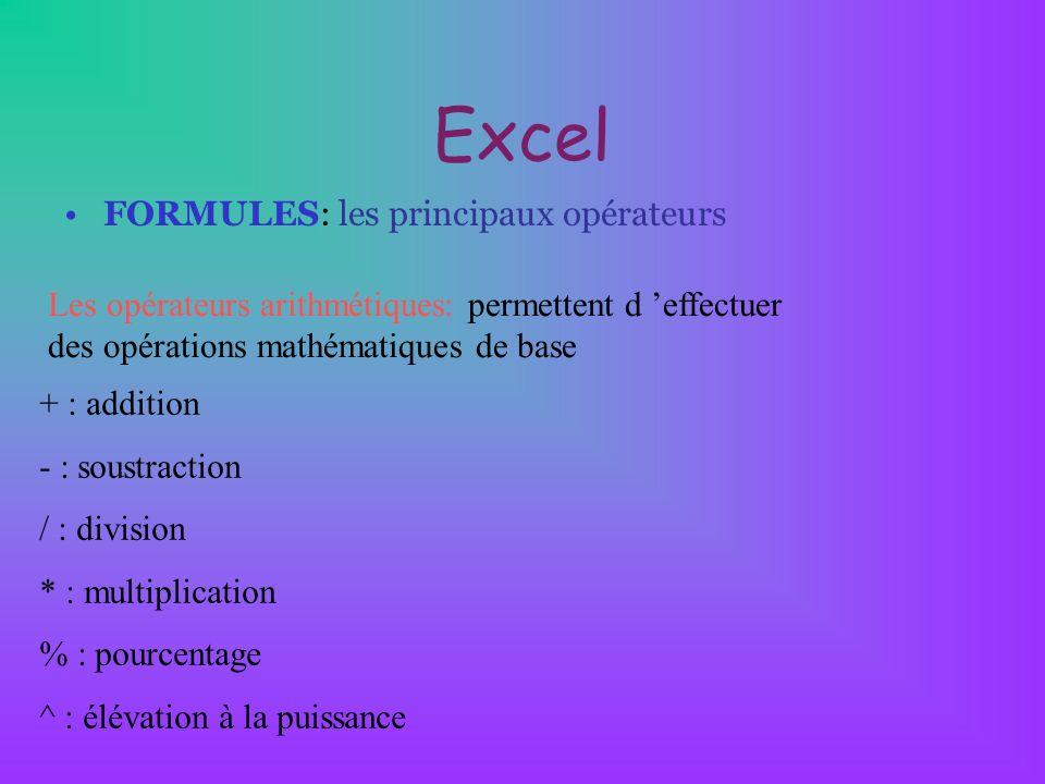 Excel FORMULES: les principaux opérateurs