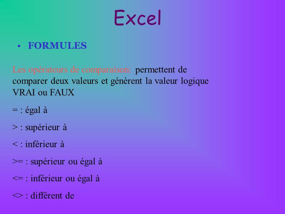 Excel FORMULES. Les opérateurs de comparaison: permettent de comparer deux valeurs et génèrent la valeur logique VRAI ou FAUX.