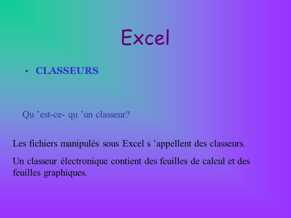 Excel CLASSEURS Qu 'est-ce- qu 'un classeur