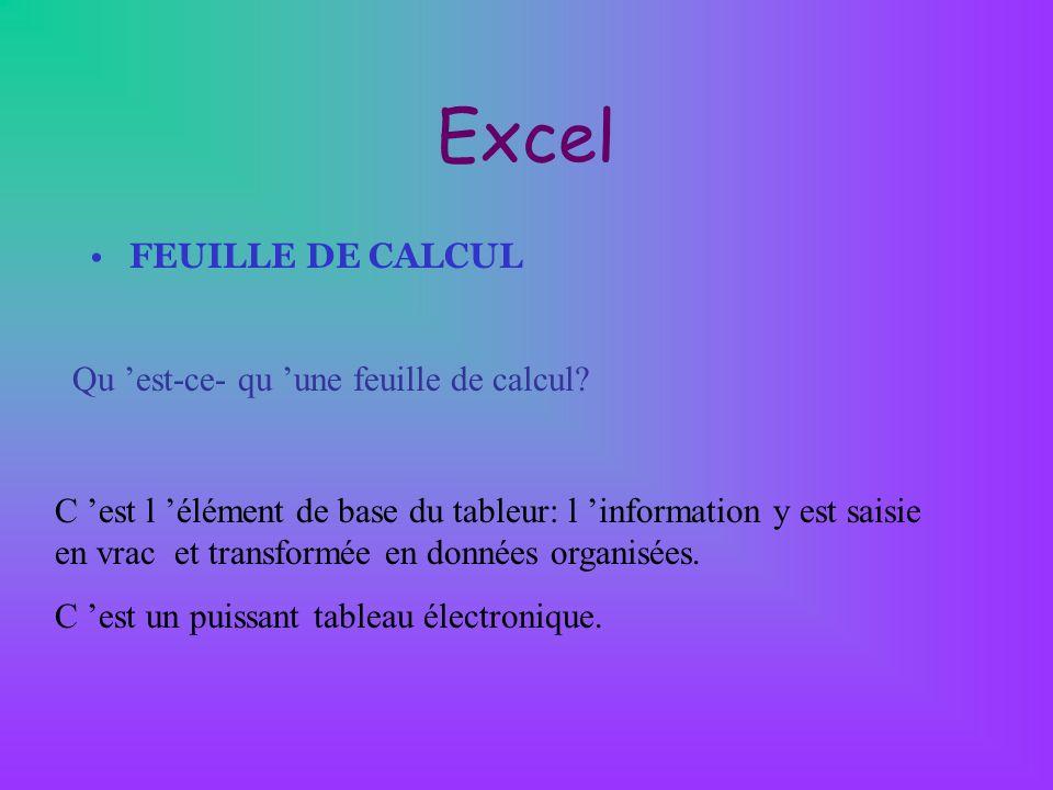 Excel FEUILLE DE CALCUL Qu 'est-ce- qu 'une feuille de calcul