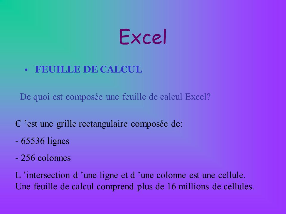 Excel FEUILLE DE CALCUL