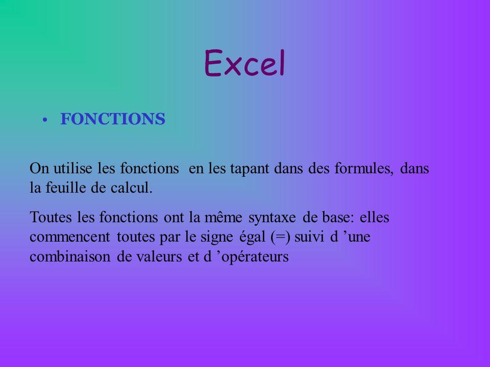 Excel FONCTIONS. On utilise les fonctions en les tapant dans des formules, dans la feuille de calcul.