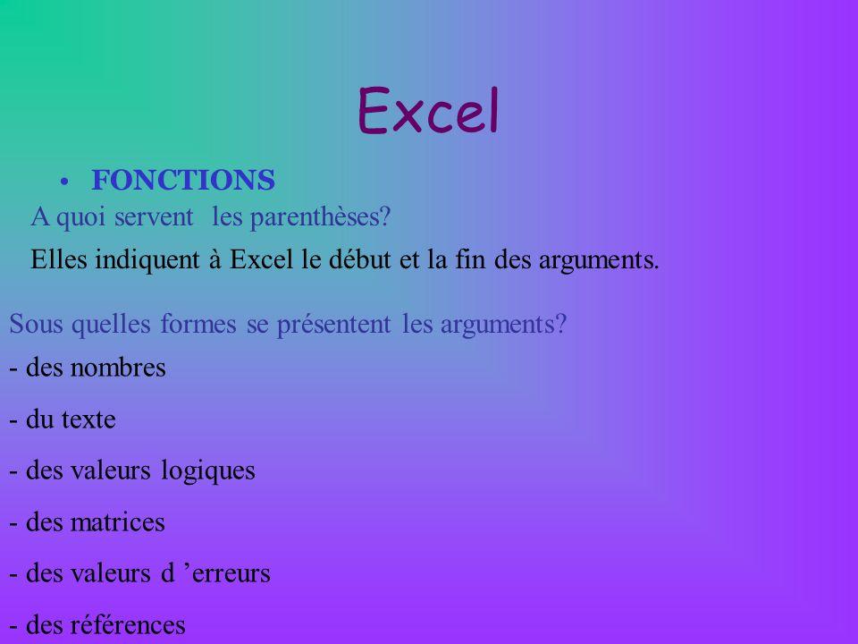 Excel FONCTIONS A quoi servent les parenthèses