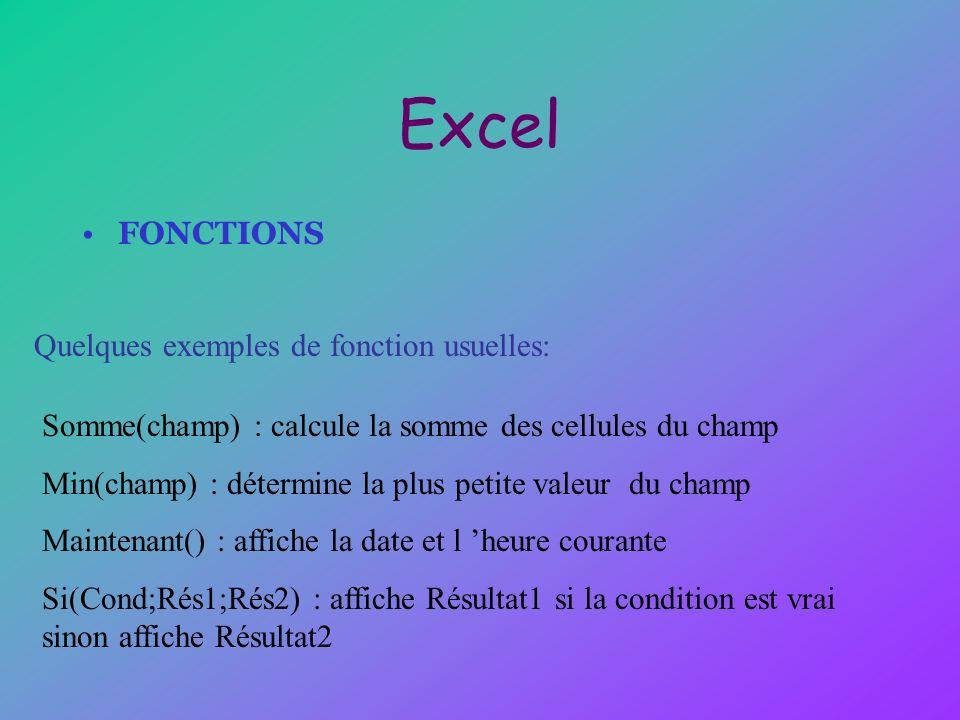 Excel FONCTIONS Quelques exemples de fonction usuelles: