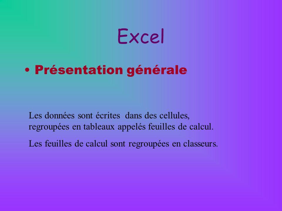 Excel Présentation générale
