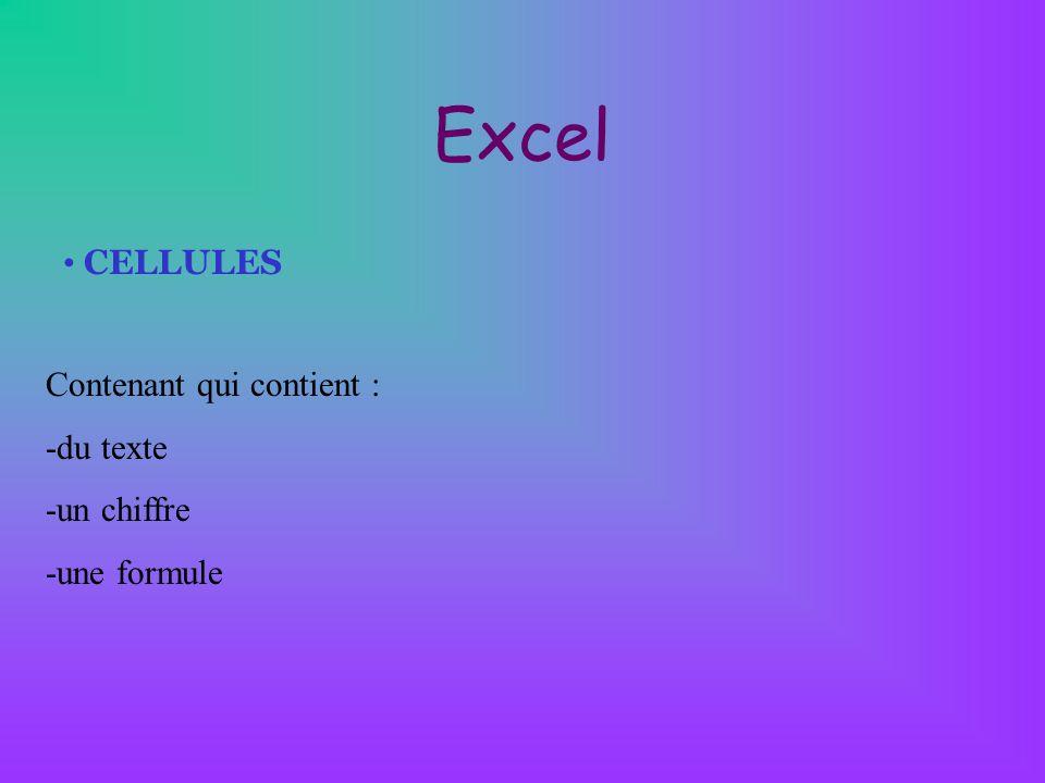 Excel CELLULES Contenant qui contient : -du texte -un chiffre