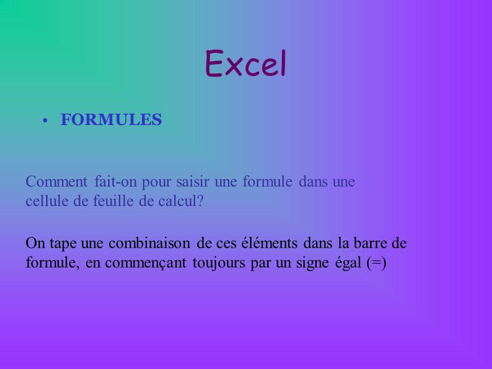 Excel FORMULES. Comment fait-on pour saisir une formule dans une cellule de feuille de calcul