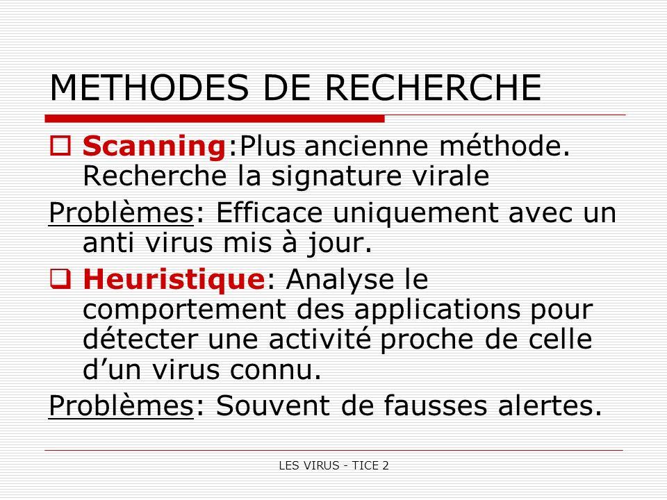 METHODES DE RECHERCHE Scanning:Plus ancienne méthode. Recherche la signature virale. Problèmes: Efficace uniquement avec un anti virus mis à jour.