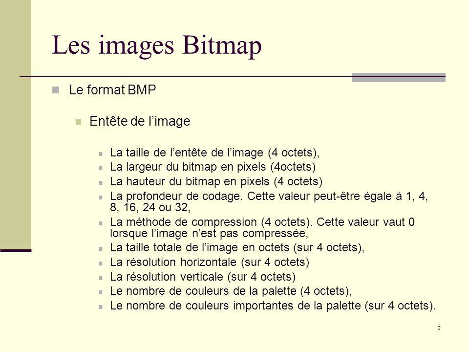 Les images Bitmap Le format BMP Entête de l'image