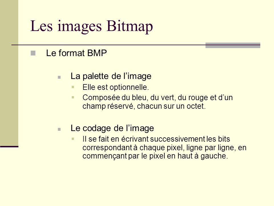 Les images Bitmap Le format BMP La palette de l'image