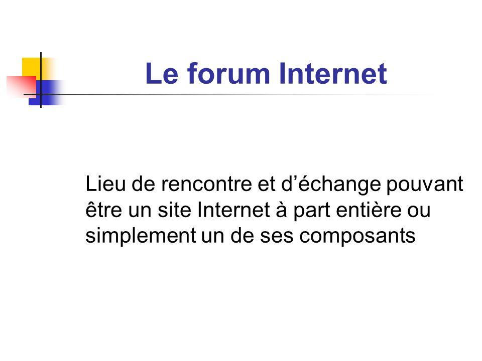 Le forum Internet Lieu de rencontre et d'échange pouvant être un site Internet à part entière ou simplement un de ses composants.