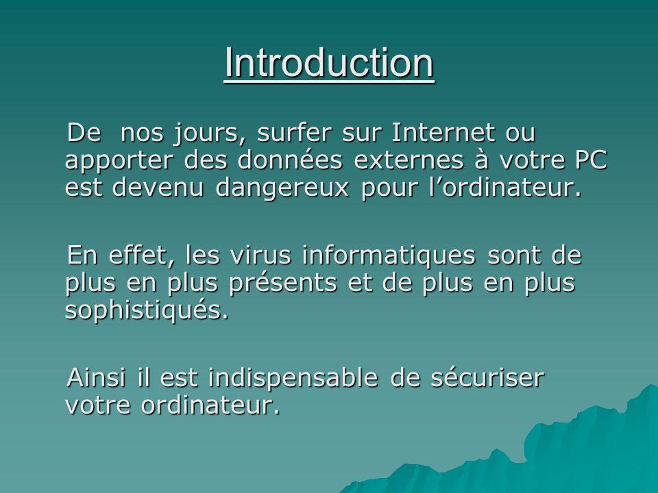 IntroductionDe nos jours, surfer sur Internet ou apporter des données externes à votre PC est devenu dangereux pour l'ordinateur.