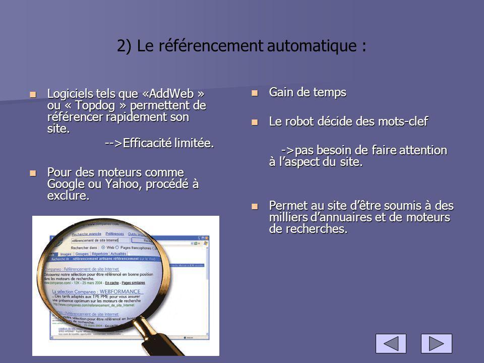 2) Le référencement automatique :