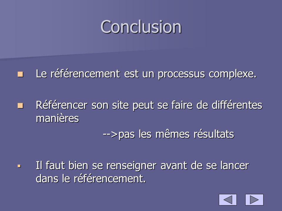 Conclusion Le référencement est un processus complexe.