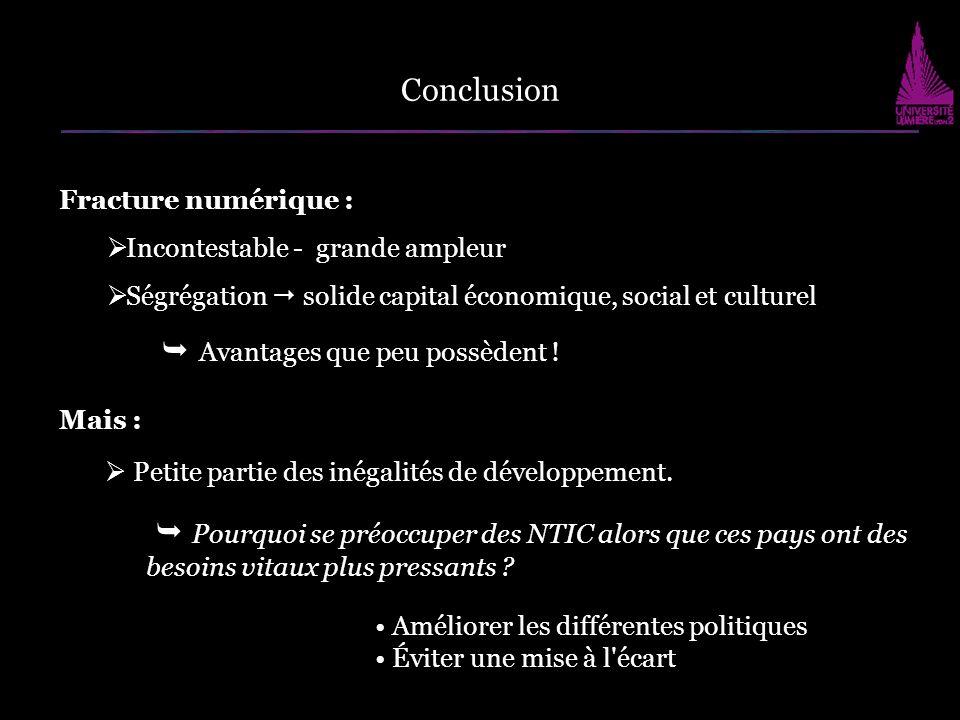 Conclusion Fracture numérique : Incontestable - grande ampleur. Ségrégation  solide capital économique, social et culturel.