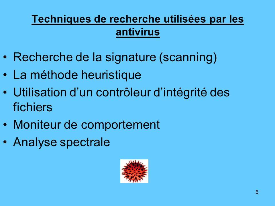 Techniques de recherche utilisées par les antivirus