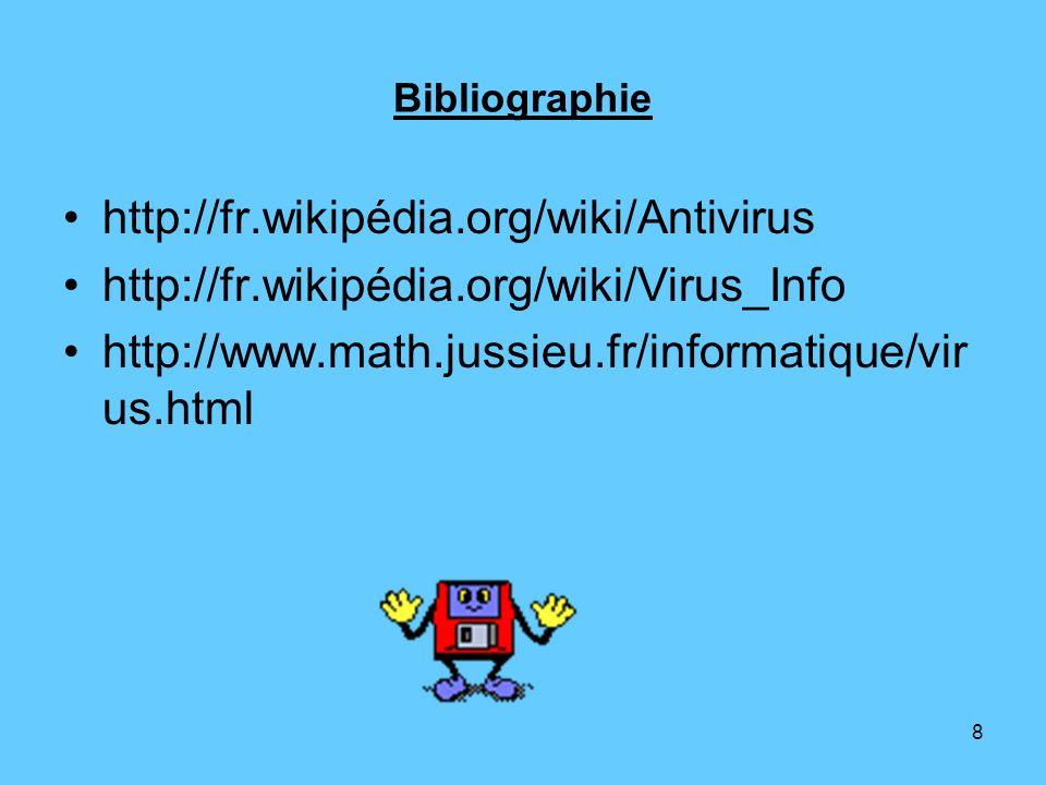 Bibliographie http://fr.wikipédia.org/wiki/Antivirus.