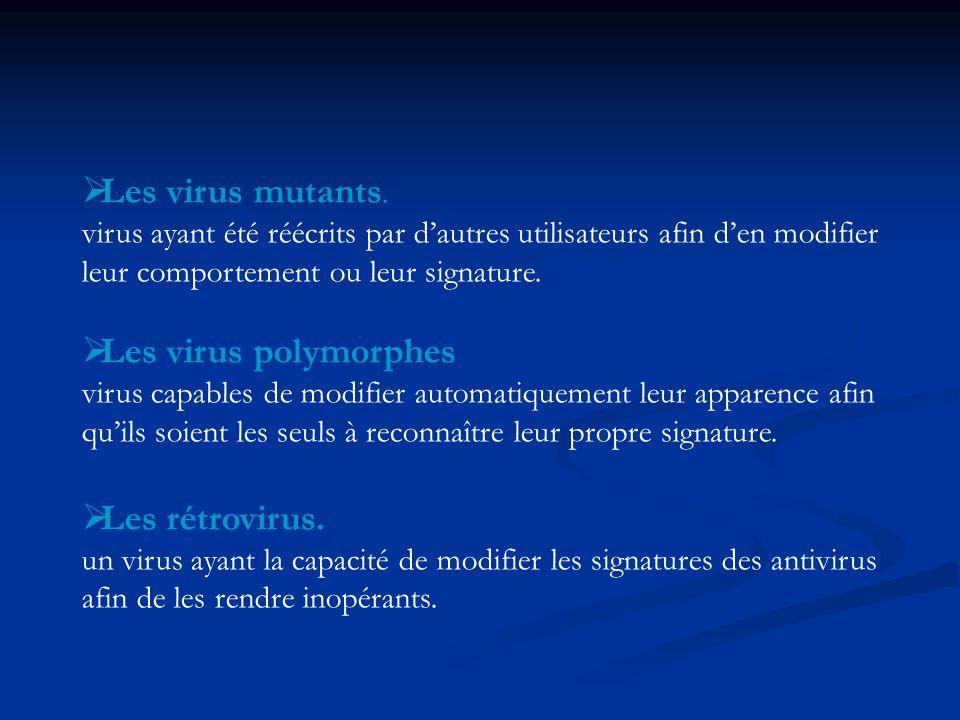Les virus mutants. Les virus polymorphes Les rétrovirus.