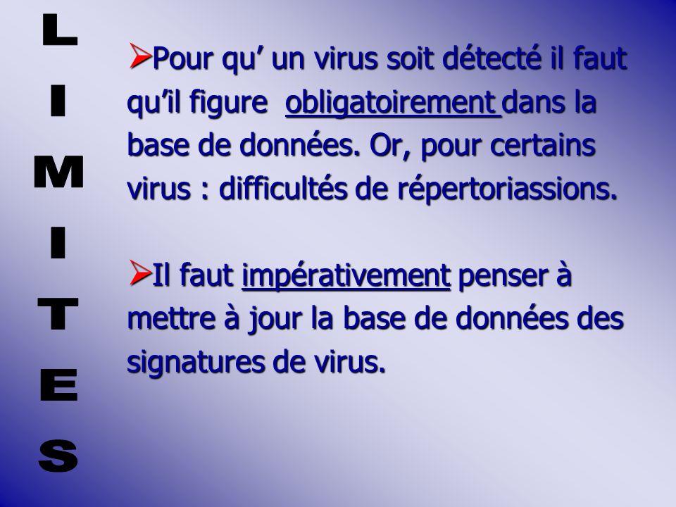 LIMITES Pour qu' un virus soit détecté il faut
